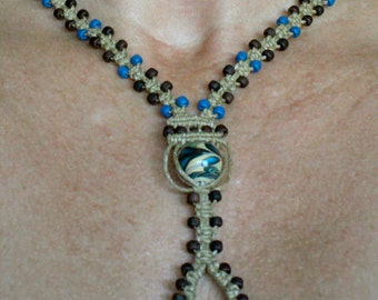 Ceramic Clay Bead Y Necklace ~  Macrame Jewelry For Her ~ Womens Necklace ~ Brown and Blue Macrame Necklace
