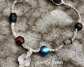 Knot So Rubbish Glass Beaded Hemp Necklace Macrame Jewelry