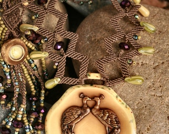 Beaded Macrame Necklace ~ Peacock Love ~ Necklace and Earrings Set - Vintage Celluloid Kissing Peacock Pendant ~ Unique Macrame Jewelry
