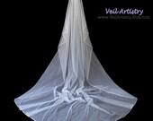 Long Wedding Veil, Cascade Wedding Veil, Cathedral Veil, 1-Tier Veil, Satin Cord Veil, Satin Cord Trim, Made-to-Order Veil, Handmade Veil