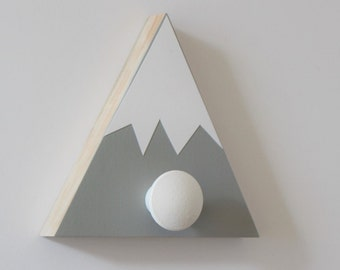 Mountain Wall Hook, Mountain Nursery, Mountain Wall Art, Wood Mountain, Gray and White, Adventure Kids Decor, Adventure Baby Nursery