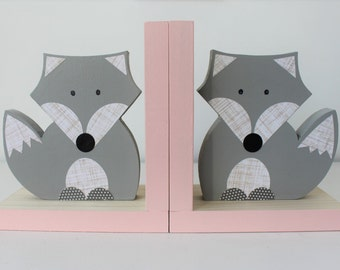 Fox Bookends, Gray and Pink Blue, Woodland Nursery, Woodland Kids Decor, Fox Nursery, Forest Themed Nursery, eco friendly