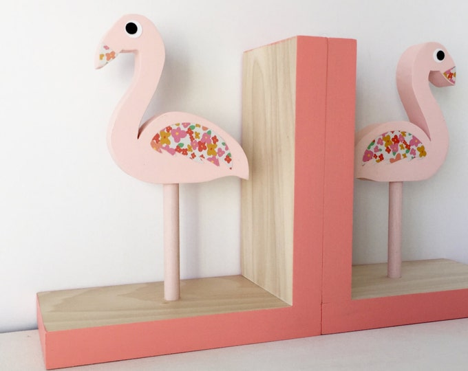 Featured listing image: Flamingo Bookends, Children Bookends, Pink and coral Flamingo Room Decor, Kids Pink Flamingo, Flamingo Baby, Flamingo, Pink Flamingo Nursery
