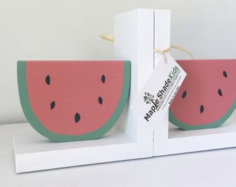 Watermelon Bookends,  Fruit Bookends, Tutti Frutti Nursery, Tropical, Summer Decor, Children's Bookends, Pink and Green, Watermelon, Fruit