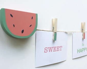 Watermelon Art Display Line,  Photo Display Line, Art Display Clips, Display Art, Watermelon Wall Art, Watermelon Decor, Fruit Wall Art,