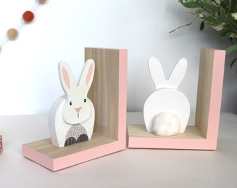Bunny Rabbit Bookends, Rabbit Tail, Easter Bunny, Modern Bunny, Woodland Nursery, Children's Bookends, Forest Nursery, Woodland Animals