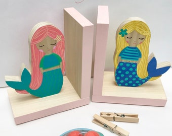 Mermaid Bookends, Children Bookends, Mermaid Room Decor, Mermaid Gifts, Mermaid Birthday, Girl Room Decor, Wooden Mermaid, nautical girl