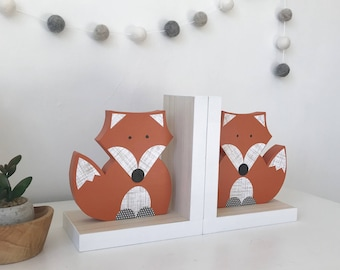 Fox Bookends, Orange and White, Gender Neutral, Woodland Nursery, Woodland Kids Decor, Children's Bookends, Fox Nursery, Forest Themed Baby
