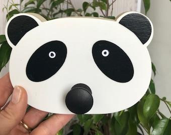 Panda Wall Hook, Panda Nursery, Animal Wall Hanger, Children's Wall Art, Animal Nursery, Faux Taxidermy, Baby Nursery, Lion Hanger,