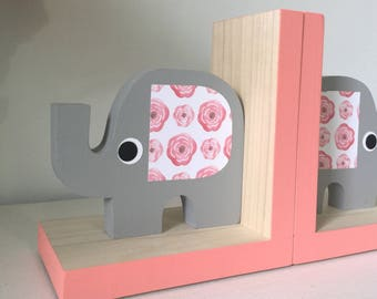 Elephant Bookends, Elephant Nursery, Elephant Kids Decor, Rose Pink, Pink, Gray Yellow Nursery, Baby Girl Elephant,