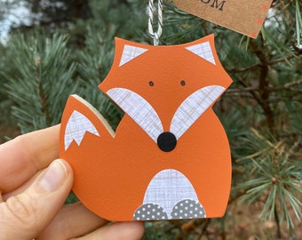 Woodland Christmas Ornament, Scandinavian Ornament, Animal Ornament, Orange Fox Christmas Ornament, Fox Wooden Art, Woodland Hanging Art,