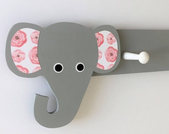 Elephant Coat Rack, Pink and Gray, Elephant Nursery Decor, Elephant Kids Decor, Elephant Hooks, Elephant Clothing Hanger, Elephant Nursery,