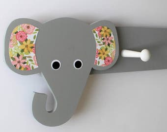 Elephant Coat Rack,Floral, Elephant Nursery Decor, Elephant Kids Decor, Elephant Hooks, Elephant Clothing Hanger, Elephant Nursery,