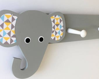 Elephant Coat Rack, Geometric, Elephant Nursery Decor, Elephant Kids Decor, Elephant Hooks, Elephant Clothing Hanger, Elephant Nursery,