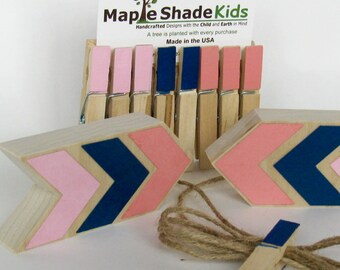 Pink, Navy Blue, Coral Arrow Art Display Clips, Aztec Nursery, Tribal Nursery, Archery,  Arrow Nursery, Tribal Kids, Picture line, Art Line