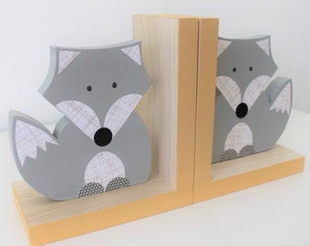 Fox Bookends, Gender Neutral Nursery,  Gray and Yellow, Woodland Nursery, Woodland Kids Decor, Fox Nursery, Forest Themed Nursery, natural