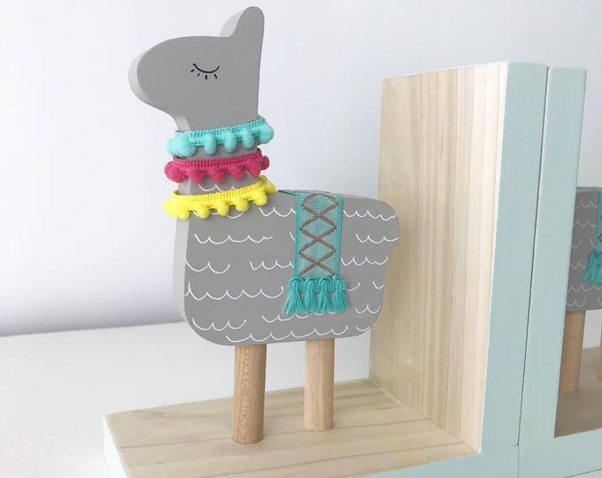 Featured listing image: Llama Bookends, Llama Nursery Decor, Natural Wood, Two-toned, Llama Kids Decor, Alpaca Kids, Llama Gifts, Llama Decor , Llama Baby Shower