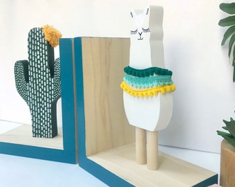 Llama and Cactus Bookends, Bohemian Baby Nursery, Boho Kids Decor, Southwest Decor Alpaca Kids, Llama Gifts, Llama Baby Shower, Teal Decor