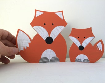 Mom and Child Wooden Fox Art Sculpture, Fox Decor, Forest Themed Nursery, Fox Kids Decor, eco friendly