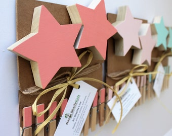 Star Art Display Clips, Star Art Cable, Pink, Aqua, Mint, Star Baby, Star Nursery Decor, Star Wall Art, Star Picture Line, Star Art Display