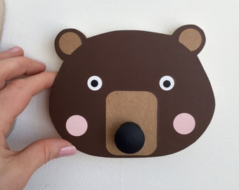 Brown Bear Wall Hook, Bear Animal Head, Bear Wall Hanger, Children's Wall Art, Faux Taxidermy, Woodland Themed Nursery, Bear Hanger,