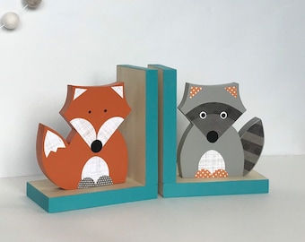 Forest Animal Bookends, Fox and Raccoon Bookends, Unique Nursery Decor, Teal Woodland Nursery, Children's Bookends, Mint Forest Themed Nurs
