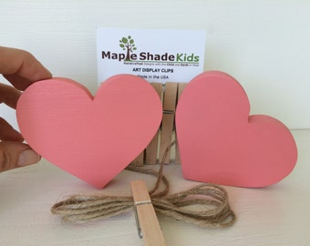 Coral Pink Heart Art Display Clips, Heart Art Cable, Rose Pink, Valentine, eco friendly