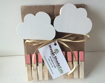 Cloud Art Display Cable, Coral Pink Clips, Cloud Baby, Cloud Picture Display Line, Cloud Art Display Line, Cloud Nursery, eco friendly