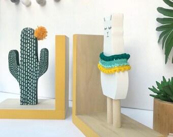 Llama and Cactus Bookends, Bohemian Baby Nursery, Boho Kids Decor, Southwest Decor Alpaca Kids, Llama Gifts, Llama Baby Shower, Succulent