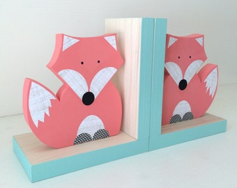 Fox Bookends, Coral Pink and Aqua Blue, Woodland Nursery, Woodland Kids Decor, Fox Nursery, Forest Themed Nursery, eco friendly