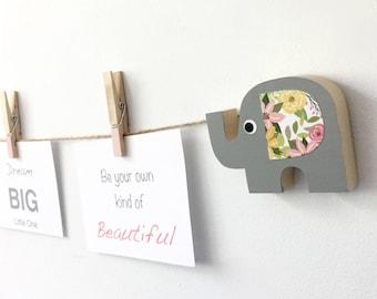 Elephant Art Display Line, Gray and Pink Floral, Elephant Kids Decor, Baby Elephant Nursery, Girl Elephant, Picture Display Line, Art Line