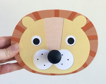 Lion Wall Hook, Animal Wall Hanger, Children's Wall Art, Animal Nursery, Faux Taxidermy, Baby Nursery, Lion Hanger,