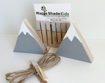 Mountain Art Display Clips, Adventure Nursery, Mountain Nursery, Archery, Wood Mountain, Gray and White, Picture line, Art Line, Art Display