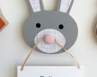 Bunny Rabbit Wall Hook, Bunny Rabbit Animal Head, Bunny Rabbit Nursery Decor, Faux Taxidermy, Woodland Themed Nursery, Bunny Kids Decor