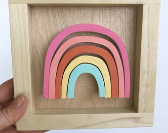 Framed Wooden Rainbow Wall Art for Kids, Natural Wood Wall Art, Scandi wood wall art, rainbow art, modern Natural wood art, Rainbow Nursery