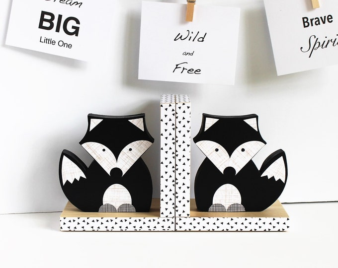 Featured listing image: Black and White Fox Bookends,  Black and White Nursery, Animal Bookends, Fox Bookends, Woodland Nursery, Children's Bookends. Monochromatic,