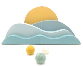 Waves and Sun Bookends, Nautical Landscape Art, neutral natural wood, Blue kids decor, Bookends, Surfer Baby Nursery, Boho Kids