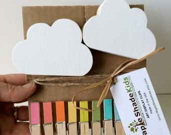 Cloud Art Display Clips, Rainbow Clips, Kids Decor, Cloud wall art, eco friendly, Rainbow and Cloud Decor, Picture Hanger, Cloud Room Decor