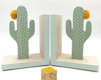 Mint Cactus Bookends, Boho Nursery Decor, Mint green Kids Decor, Greenery, Succulent Art, Southwest Decor, Green Cactus Decor, Natural Wood