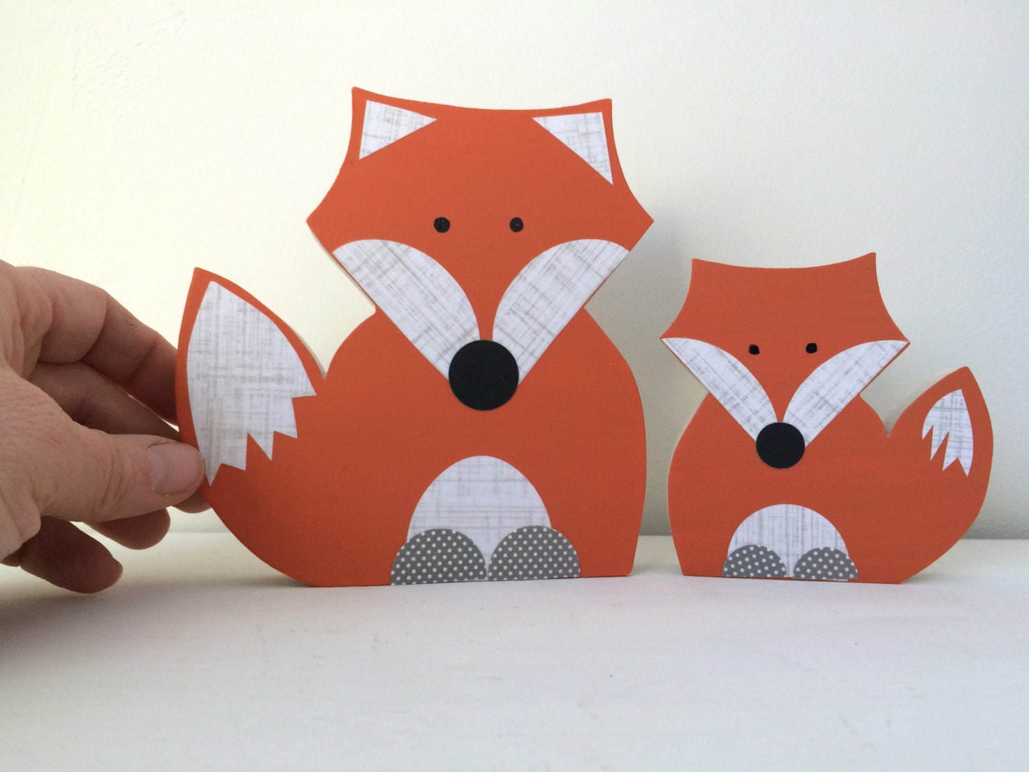 Mom And Child Wooden Fox Art Sculpture Decor Forest Themed Nursery Kids Eco Friendly