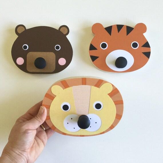 Löwe Tiger Bär Wand Haken Tier Wand Aufhängen Kinder | Etsy