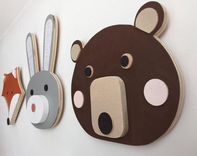 Featured listing image: Animal Head, Nursery Decor, Bear, Bunny, Fox, Faux Taxidermy, Woodland Themed Nursery, Fox Kids Decor,  eco-friendly