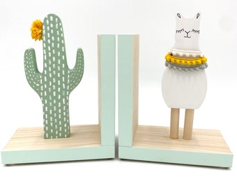Gender Neutral Llama and Cactus Bookends, Bohemian Baby Nursery, Boho Kids Decor, Southwest Decor Alpaca Kids, Llama Gifts, Llama Baby Showe