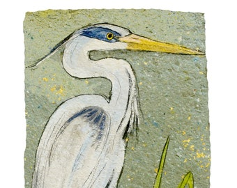 Grey Herron  -PRINT (matted to fit 11x14)