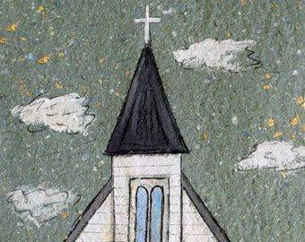 Tiny Chapel PRINT matted to fit 11x14 standard frame