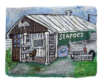 Seafood Market -print MATTED to fit 11x14