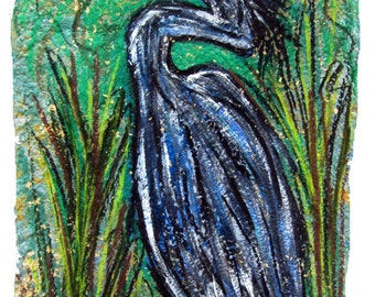 Blue Heron- print MATTED to fit 11x14