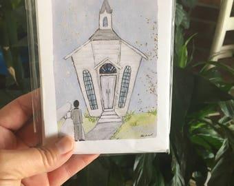 SALE Wedding chapel NOTECARDS/THANKYOU (blank set of 10)