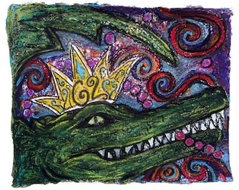 Carnival King of the Swamp Mardi Gras- Large Print of Paper Pulp Painting