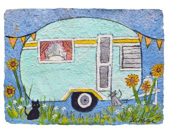 Cat Lady Camper - PRINT MATTED to 11x14